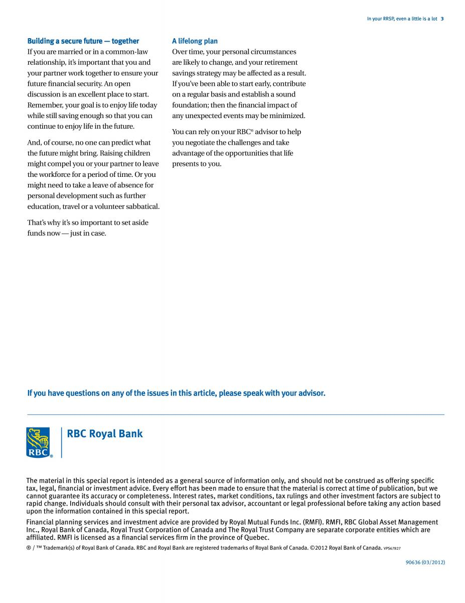 Investing, RRSp's and Savings Advice from RBC
